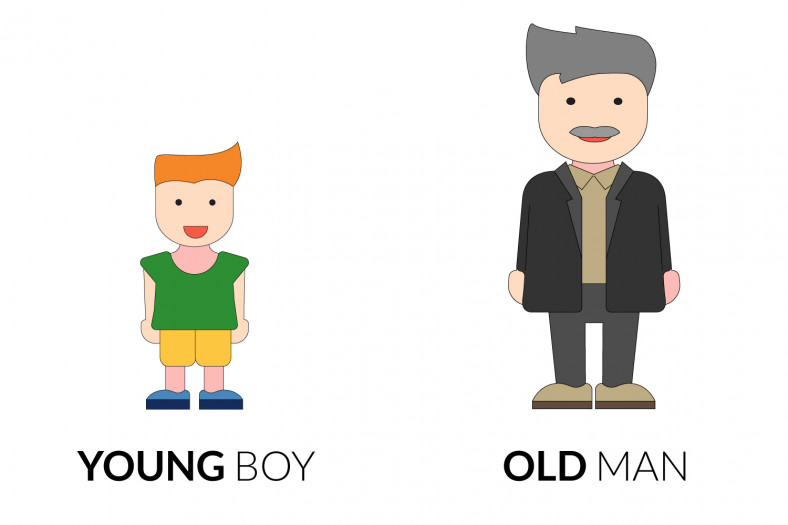 Adjectives of quality: Young boy - Old man