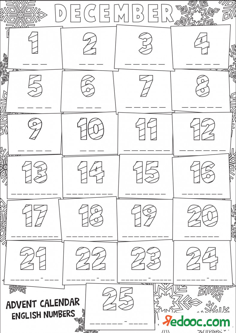 Christmas - Colouring Advent Calendar - Numbers