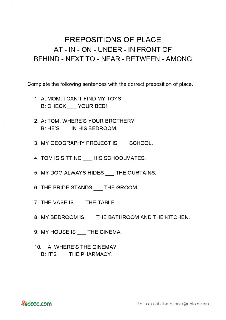 Prepositions of place: Exercise pdf