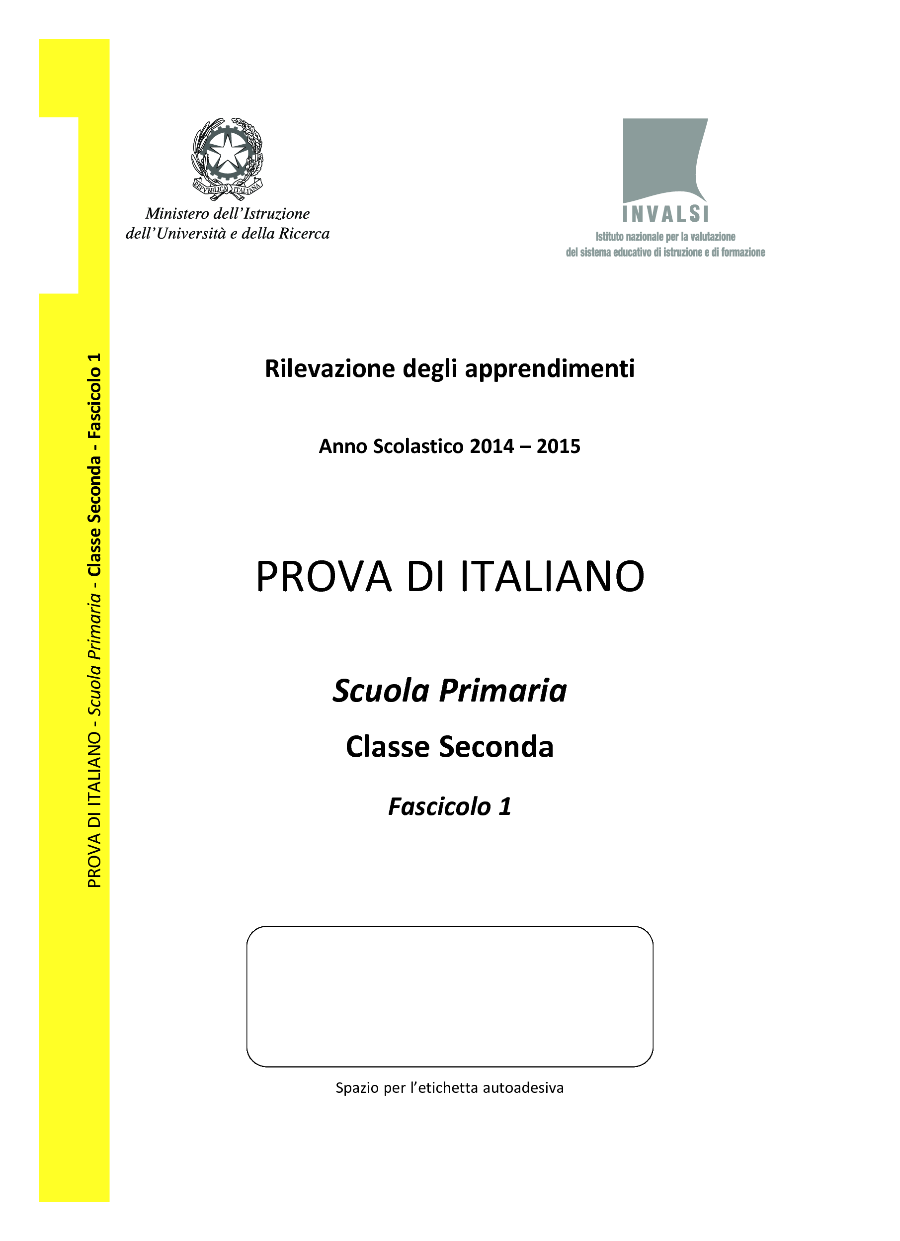 Invalsi Italiano Seconda Primaria 2015 pg. 1