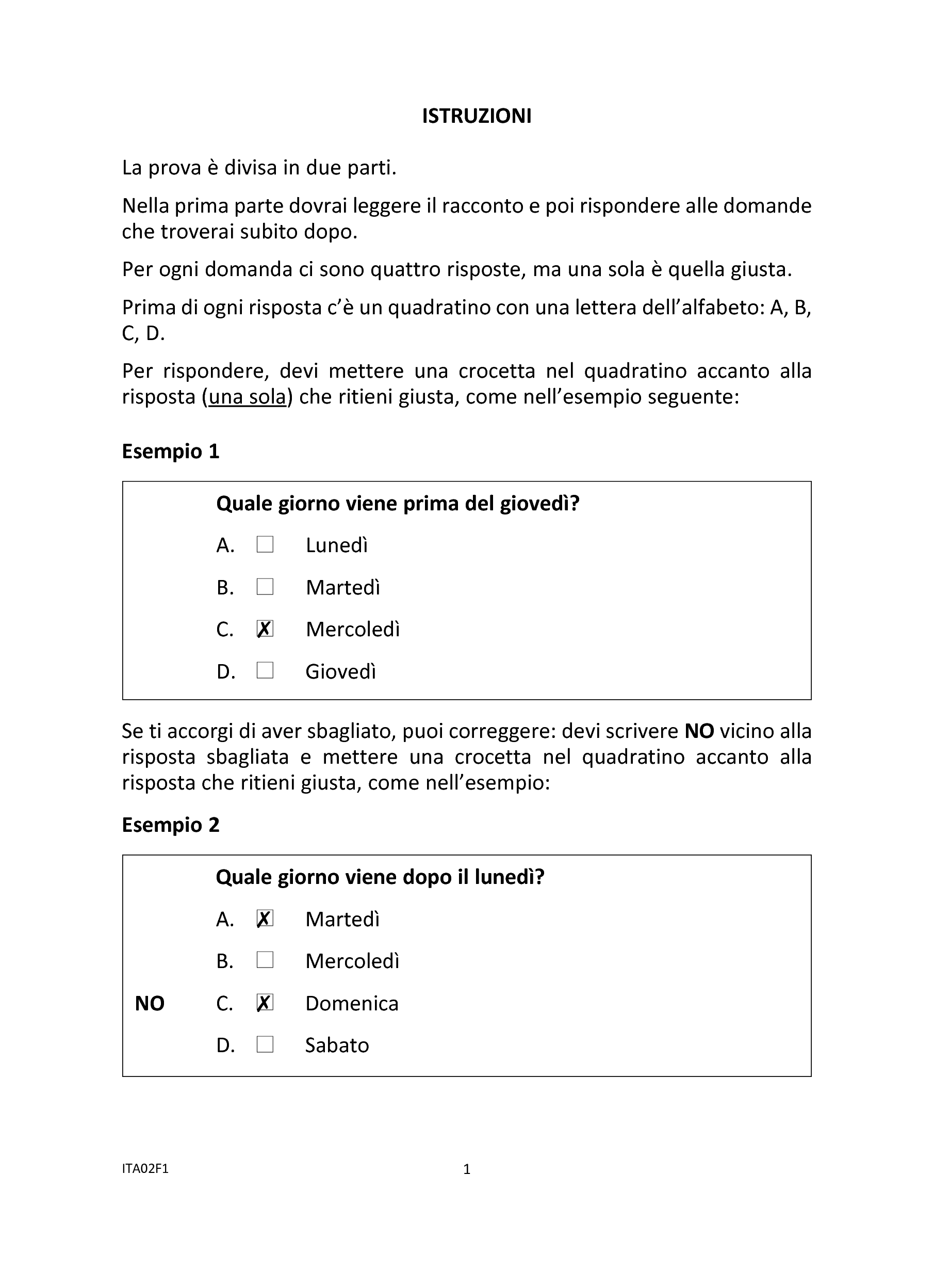 Invalsi Italiano Seconda Primaria 2015 pg. 3